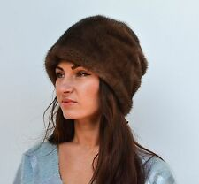 Luxurious Finnish Saga Furs Brown Mink Women's Winter Fur Beanie Hat