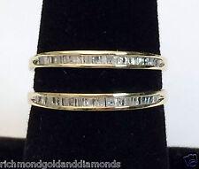 10k Yellow Gold Baguette Diamonds Solitaire Wrap Ring Guard Enhancer Jacket 0.30