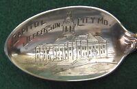 Sterling Souvenir Spoon Jefferson City, MO Capitol City, 1907