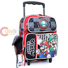 "Super Mario School Roller Backpack 12"" Small Rolling Luggage Bag Power Players"