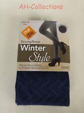 nur die Strickstrumpfhose Winter Style gemustert schwarz blau granit in 3 Größen