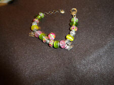European bracelet with 16 beads and Vera Bradley Lilly Bell pattern dangle