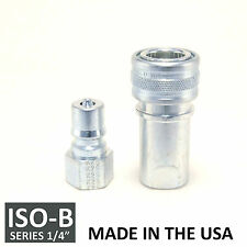 "1 Set 1/4"" ISO-B Hydraulic Hose Quick Disconnect Couplers Plug - (ISO 7241-1 B)"