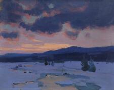 Gagnon Clarence Dusk Of winter Baie St Paul Canvas 16 x 20    #3286