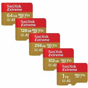 SanDisk 64GB 128GB 256GB 400GB 512GB 1TB Extreme A2 160MB/s C10 Micro SD SDXC