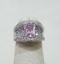 Cocktail Ring with Pink & Clear CZs Sterling Silver Size 6.25