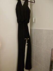 CYNTHIA ROWLEY Black Sleeveless Stretchy Wide-Leg Catsuit Size 8 (US Size 4)