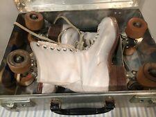 Vintage Hyde Chicago Ware Bros. Roller Skates White Leather Sz 7 Women's  w/case