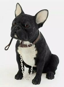 French Bulldog Ornament  Dog with Lead for Walkies Boxed Black/White or black