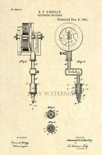 Official Tattoo Machine US Patent Art Print - Gun Antique Vintage O'Reilly 55