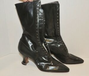 Victorian Shimmering Gray - Green  Leather Lace Up Boots SM Appx. sz  4B - 5 N
