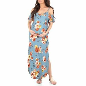 Mother Bee WOMEN'S COLD SHOULDER MATERNITY DRESS w POCKETS XL