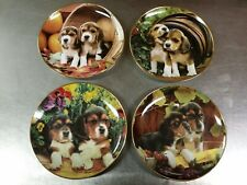 4 Franklin Mint Larry Grant Beagle Puppies Limited Edition Collector Plates