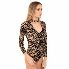 New Womens Ladies Choker Neck Long Sleeve Printed Army Leopard Tartan Body Suit