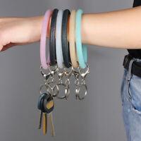 Silicone O Key Chain Circle Wristlet Bangle Keychains Key Ring For Women Girls
