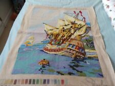 """Completed tapestry Old Sea Galleon by Penelope 21"""" x 17.5"""" Huge! Wonderful"""