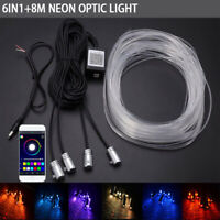 8M 6x Car Interior Atmosphere Strip Light Fiber Optic Neon Flow RGB APP Control