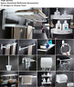 Space aluminum white Bathroom wall Accessories set Drilling|No Drilling Required