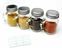 4 Pack Glass Spice Jars 4 Oz Empty Spice Bottles with Labels Handles Shaker Lids