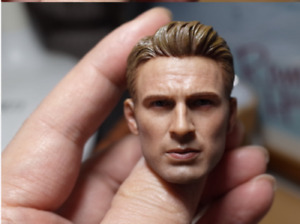"Chris Evans 1/6 Male Head Sculpt Model Avengers Captain America for 12"" Figure"