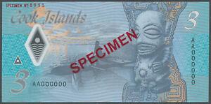 Cook Islands - 3 Dollars 2021 UNC SPECIMEN - Pick New