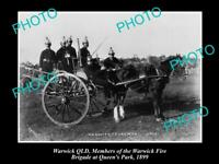 OLD POSTCARD SIZE PHOTO OF WARWICK QLD THE FIRE BRIGADE & CART c1899