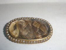 Antique Victorian 14k Gold Hair Brooch Pin pearls Mourning jewelry