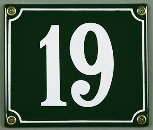 """Grüne Emaille Hausnummer """"19"""" 14x12 cm Hausnummernschild sofort lieferbar Schild"""