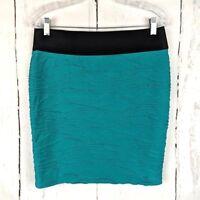 MAURICES Bandage Bodycon Knit Skirt Medium Teal Green M Short Mini Stretch
