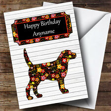 Vintage Floral Dog Personalised Birthday Card