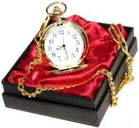 Personalised Engraved Gold Pocket Watch/Chain red satin Gift Box Wedding Gift