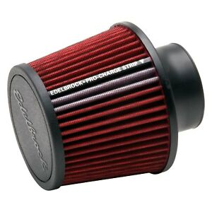 """New Edelbrock 43651 Pro-Flo Round Tapered Red Air Filter 6.5"""" H 3"""" Intake Red"""