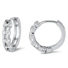 Double Cubic Zirconia Huggie .925 Sterling Silver Earrings