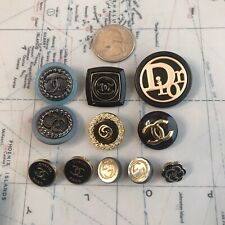 Set Of 11 Chanel Gucci Dior Gold/Black/Blue Stamped Button Metal Rhinestones