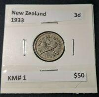 New Zealand 1933 Threepence 3d KM# 1   #139