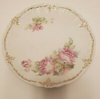 """Weimar Germany 6"""" Plate Embossed Painted Pink Roses Gold Edge"""