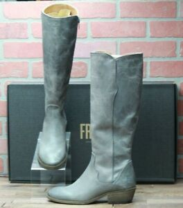 *Frye Carson Piping Tall Graphite Leather Riding Boots New in Box - Size 9.5 M