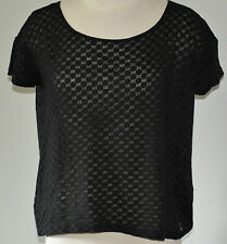 Ann Taylor Loft Size Small Black Polka Dot Shirt Burnout Sheer