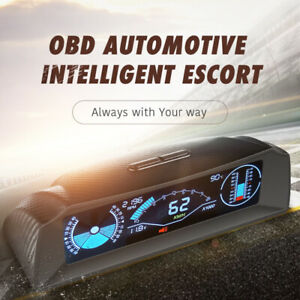 OBD2 Auto HUD Dash Head Up Display Speedometer Slope Meter Inclinometer Compass
