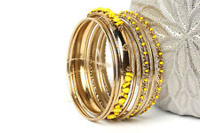 Women's Fashion Gold Colored Beaded  Bangles Bracelet Set Yellow/Gold
