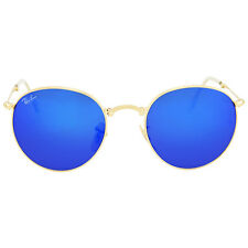 Ray Ban Round Metal Folding Blue Mirror Sunglasses RB3532 001/68 50