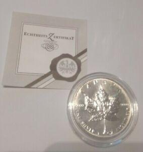1 Unze Silber-5 Dollar Münze-Canada Maple Leaf 1994-Stempelglanz + Zertifikat