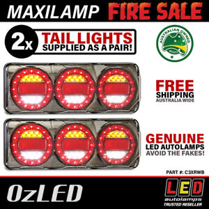 Genuine LED Maxilamp 3 Series Combination Tail Lights x2 STOP/TAIL/IND & REV
