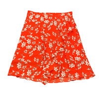 New $90 value! CALVIN KLEIN 16W Orange Floral Ruffled Midi Skirt w/ Side Zipper