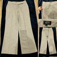 PER UNA Women Smart Work Business Trousers Size 14 Long Linen Blend M&S Immacula