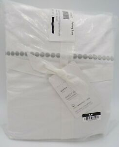 Pottery Barn Pearl Organic Percale Sheet Set Satin Stitch Queen Gray Mist #9805G