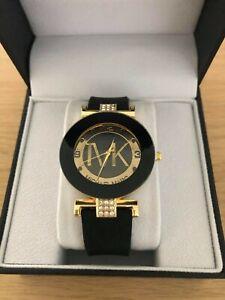 Women's, Ladies Black & Gold Dress Watch, Michael Mark Watch + Watch Box