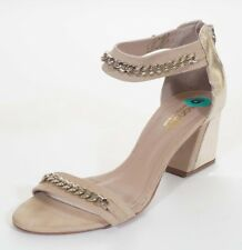 Biondini Womens Tan Gold Leather Chain Ankle Strap Sandals Heels Shoes 8 39
