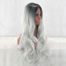 Gradient Gray Long Wavy Curly Hair Bob Synthetic Full Cosplay Party Wig Women's