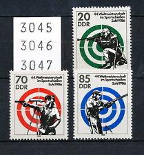 DDR 1986, WM im Sportschießen, Satz kompl. postfrisch